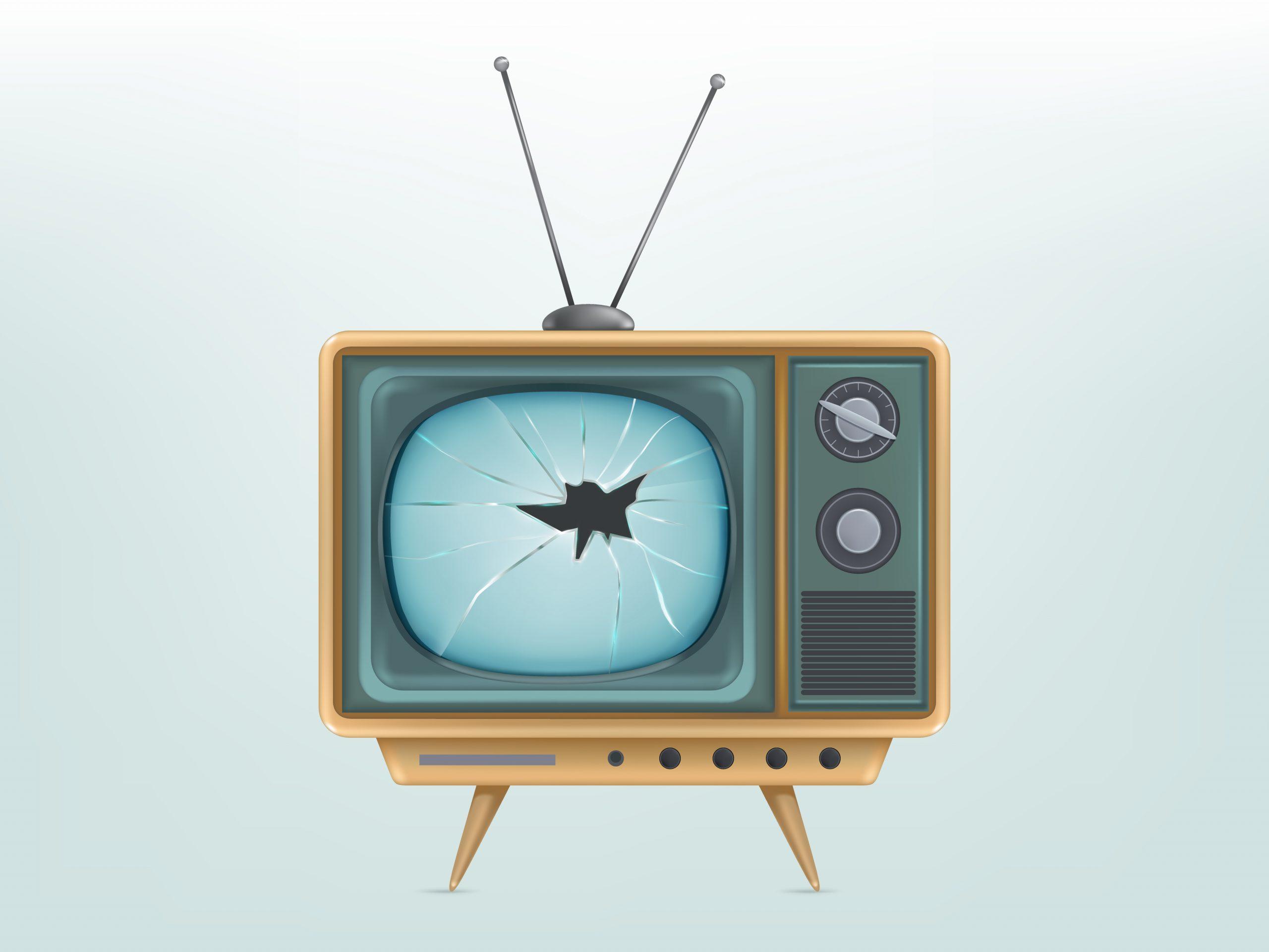 Vector Illustration Of Broken Retro Tv Set, Television. Injured Electric Video Display For Broadcasting, News.